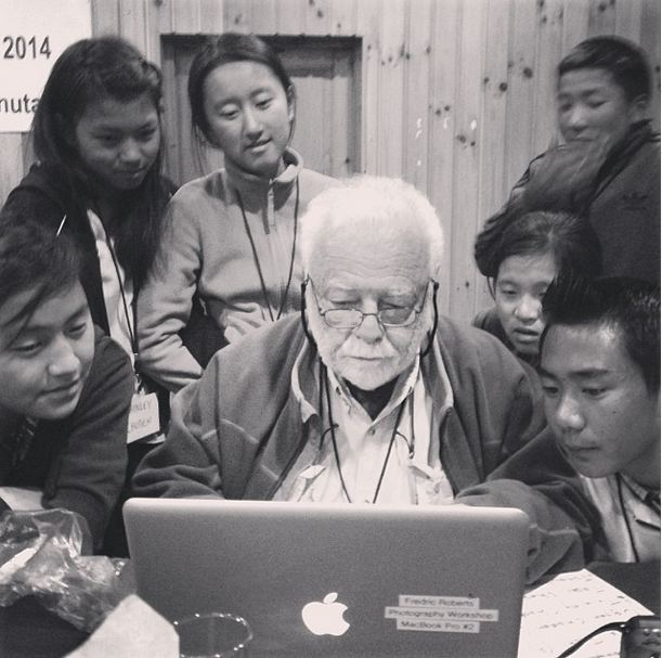 Fred with students (Photo by Will Van Beckum)