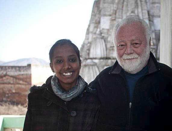 Roberts with former student Divya Singh Rathore